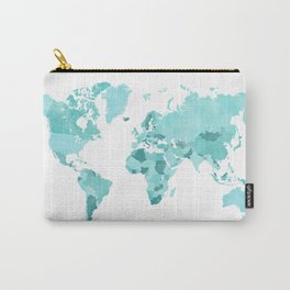 Distressed world map in aquamarine and teal Carry-All Pouch