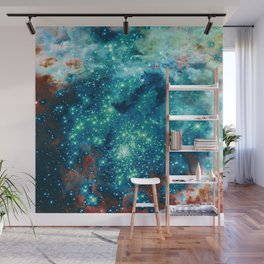 Teal Brown Glitter Sparkle Stars Wall Mural