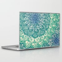 bianca green Laptop & iPad Skins featuring Emerald Doodle by micklyn