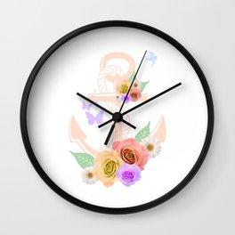 Pink Floral Anchor Wall Clock