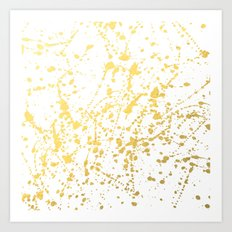 Splat White Gold Art Print