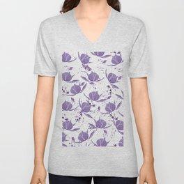Hand painted lilac violet watercolor splatters floral Unisex V-Neck