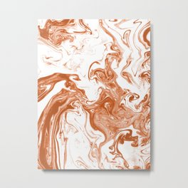 Marble Suminagashi copper 1 watercolor pattern art pisces water wave ocean minimal design Metal Print