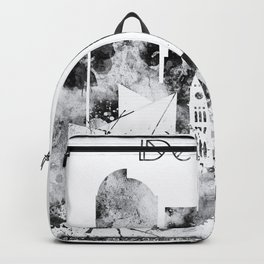 Black and white watercolor Denver skyline Backpack