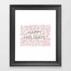 Happy Holidays Swirlies Framed Art Print