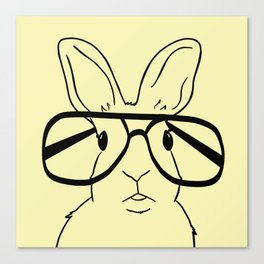 Easter Bunny With Glasses On Yellow Background Canvas Print