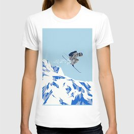 Airborn Skier Flying Down the Ski Slopes T-shirt