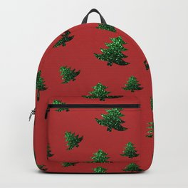 Sparkly Christmas tree green sparkles on red Backpack