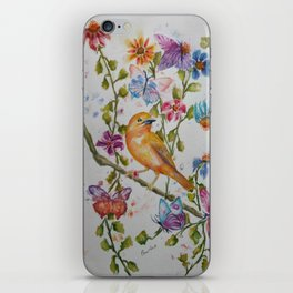 YELLOW BIRD WITH WHIMSICAL FLOWERS AND BUTTERFLIES iPhone Skin