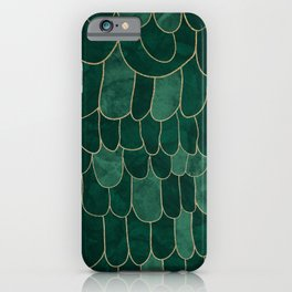 Stratosphere Emerald // Abstract Green Flowing Gradient Gold Foil Cloud Lining Water Color Decor iPhone Case