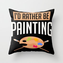 Painter Brushes Mixed Pallet Artist Gift Throw Pillow