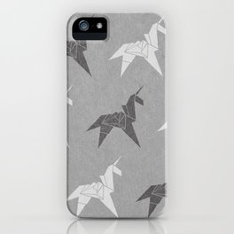 Origami Unicorn Grey iPhone Case