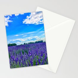 Wildflowers Blooming in a Meadow | Purple Lavender Perennials Deep Blue Sky Spring Landscape France Stationery Cards