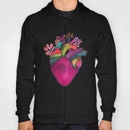 Watercolor magenta bloom heart Hoody
