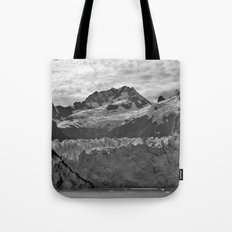 Looking Up the Glacier (Black and White) Tote Bag