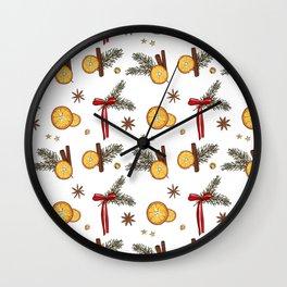 Christmas oranges Wall Clock