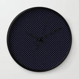 Peacoat and Black Polka Dots Wall Clock