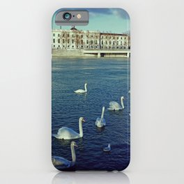 Swans everywhere in the Rhone river - Lyon photography iPhone Case