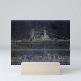 Vintage USS Arizona Blueprints Mini Art Print