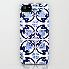 Azulejos, moroccan tiles, Painted tiles, blue, white, portugal iPhone Case