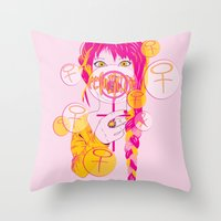 feminism Throw Pillows featuring Feminism by Something Quiet
