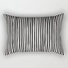 Skinny Stroke Vertical Black on Off White Rectangular Pillow