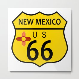 Route 66 New Mexico Flag Metal Print