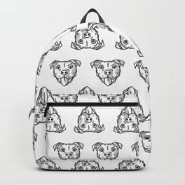 Pitbull Dog Print - black and white halftone Backpack