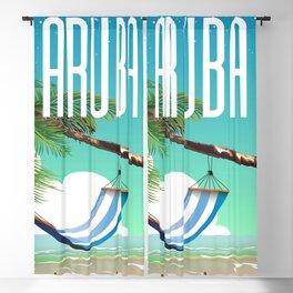 Aruba Hammock beach travel poster Blackout Curtain