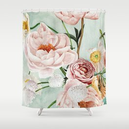 Blue Oval Peonies & Poppies Shower Curtain
