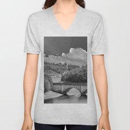 Ladybower Reservoir Monochrome  Unisex V-Neck