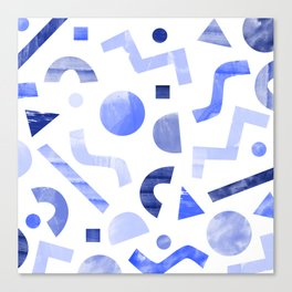 Memphis watercolor blue abstract pattern Canvas Print