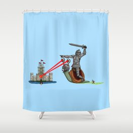 The Knight and the Snail - Random edition Shower Curtain
