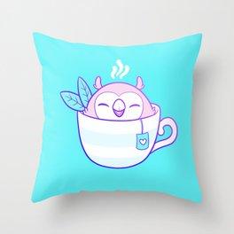 Owl Tea Throw Pillow