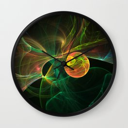 Abstract fractal orange planet. Space theme. Computer generated graphics. Wall Clock