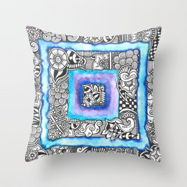 Zentangle Inspired Artwork Blue and Purple Squares... Throw Pillow