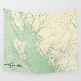 Vintage Map of British Columbia (1893) Wall Tapestry