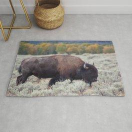 Buffalo in a field of sage Rug