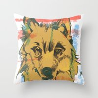 howl Throw Pillows featuring HOWL by Galvanise The Dog