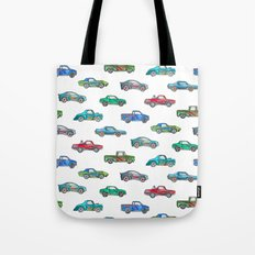 Little Toy Cars in Watercolor on White Tote Bag