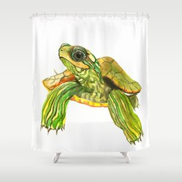 Baby Turtle, Green, Yellow Olive Green Children Shower Curtain