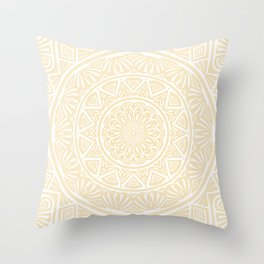 Pale Yellow Simple Simplistic Mandala Design Ethnic Tribal Pattern Throw Pillow
