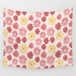 Floral Scatter Pattern-Pink&Yellow Wall Tapestry