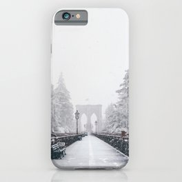 New York City and Brooklyn Bridge Winter/Christmas iPhone Case