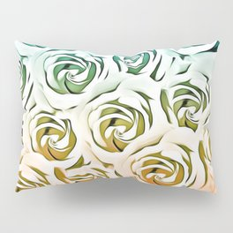 blooming rose pattern texture abstract background in blue and pink Pillow Sham