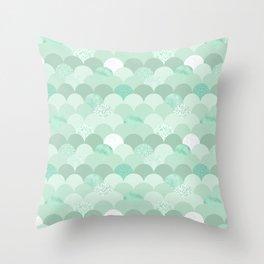Geometrical mint green white elegant scallop pattern Throw Pillow