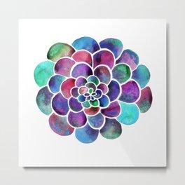 Playful Echeveria Bubble Succulent - Multicolor Watercolor Metal Print