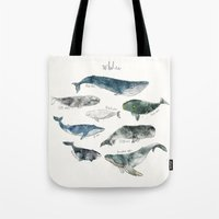 blue Tote Bags featuring Whales by Amy Hamilton