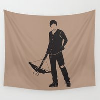 daryl dixon Wall Tapestries featuring Daryl by the minimalist