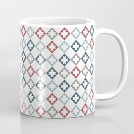Modern Farmhouse Quilt Pattern Vintage Inspired NorthStar and Diamond Harlequin Print Coffee Mug